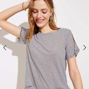 LOFT Shimmer Stripe Twist Sleeve Tee - NWT!